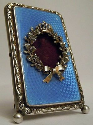 FABERGE Antique Imperial RUSSIAN Photo frame with Enamel, 84 silver + BOX