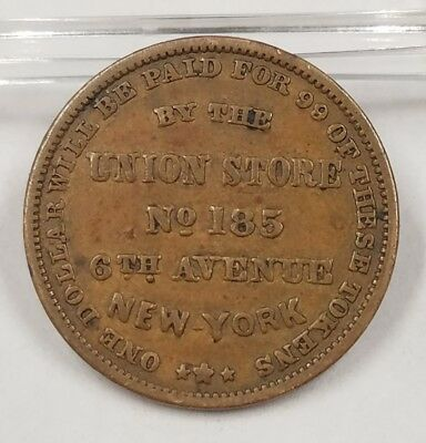 1850s A. Wise Union Store No. 185 New York Store Card Merchant Trade HT Token