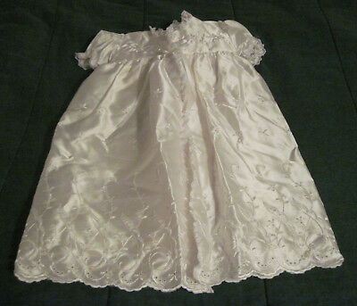 Phyllis Baby Wear Satin Embroidered Christening Gown, Coat and Bonnet With Slip