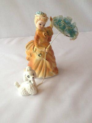 vintage porcelain girl with poodle on chain
