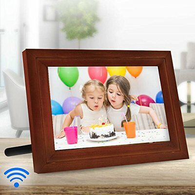 """iCozy Digital Touch-Screen 7"""" Picture Frame with Wi-Fi - DWF7PF1-R -Brown"""