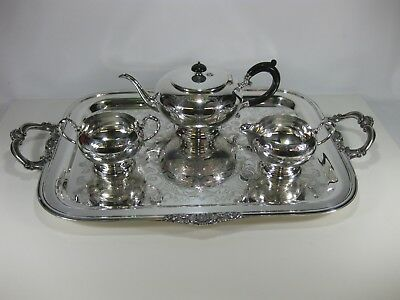 Vintage Silverplated Tea Service Set w/ Tray Creamer Sugar Bowl