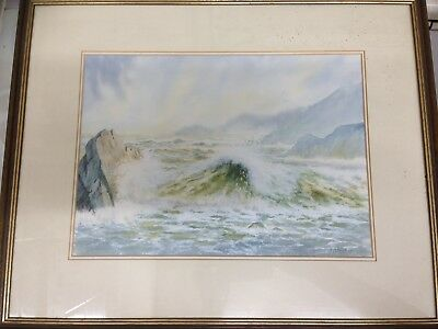 Framed Original Watercolour Painting Depicting A Coastal Scene by E M Yule