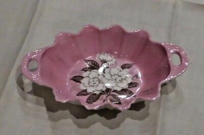 Rose Pink background with white roses in center Paragon  candy dish