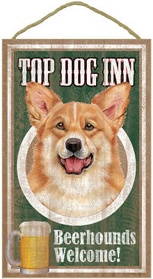 "Top Dog Inn Beerhounds Corgi Bar Sign Plaque dog pet 10"" x 16""  Beer"