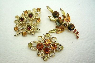 Vintage Jewellery Mixed Lot Of Amber Gold Rhinestone Brooches Pins