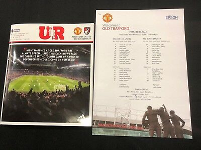 Manchester United Vs Bournemouth PL 13/12/17 Match Programme & Team Sheet