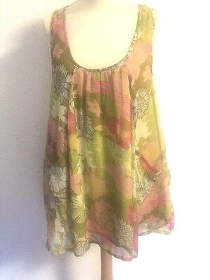 SALE LARA ETHNIC layered dress scoop neck pockets multi col'd on yellow one-size