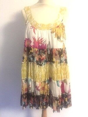 SALE LARA ETHNIC tiered Summer dress skirt multi col'd on white one-size