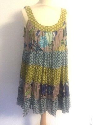 SALE LARA ETHNIC tiered dress lined skirt multi col'd on grey one-size