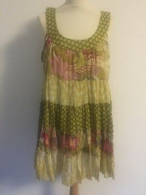 SALE LARA ETHNIC tiered Summer dress skirt multi col'd on yellow one-size