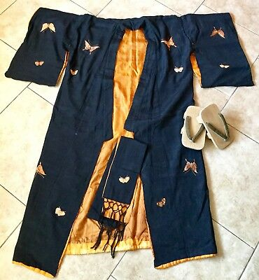 Antique Japanese Black Silk Kimono With Butterflies, Sash, Wooden Thong Shoes