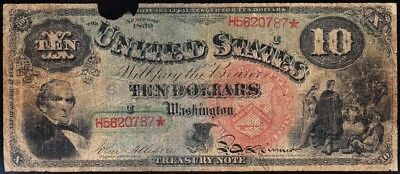 """Affordable *RARE* Bold Color 1869 $10 """"RAINBOW"""" Jackass US Note! H5620787*"""