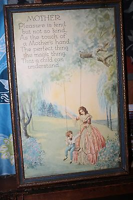Vintage Framed Mother Litho  ,Mary Gold Signed Lithograph ,1920's Art Deco