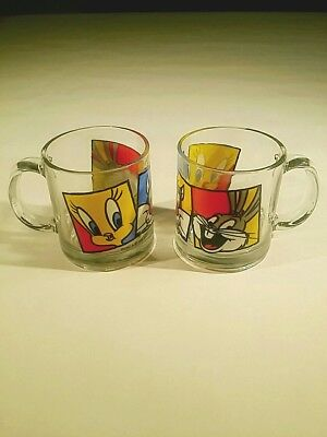 (2) Looney Tunes Hocking Glass Coffee Mug Salvestor Bugs Bunny tweety 1994 USA
