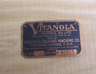 Antique Vitanola Talking Machine Co Phonograph Type 8 Metal ID Name Plate Tag z