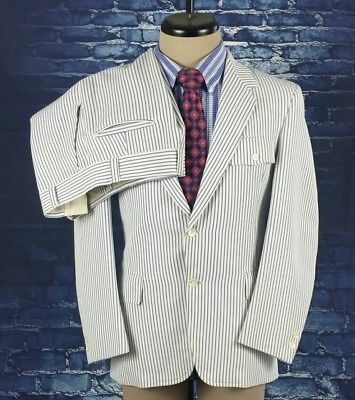 Best VINTAGE White and Blue Pinstripe Nautical Full Suit 38 S - SO SWEET!!