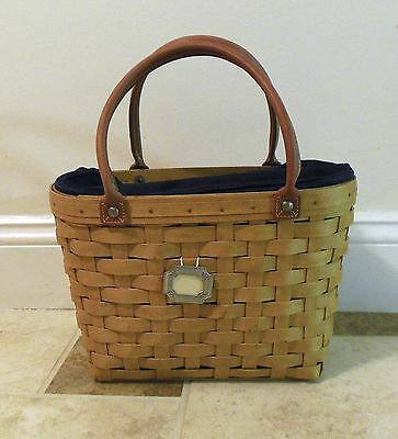 Longaberger - Medium Boardwalk Basket Purse Tote w/ Protector & Navy Liner  2003