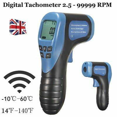Digital LCD Laser Photo Tachometer RPM Tachometer Measuring Non-Contact Devic UK