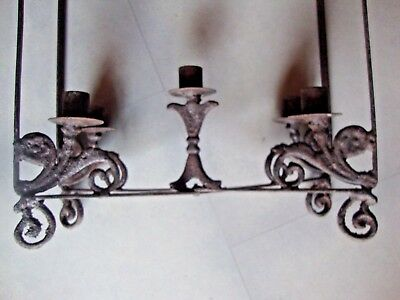 Antique Gothic Wrought Iron Hanging Candle Holder Candelabra Chandelier