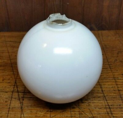 Large Plain Smooth White Milk Glass Lightning Rod Ball (L5)