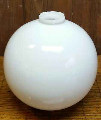 Large Plain Smooth White Milk Glass Lightning Rod Ball (L6)