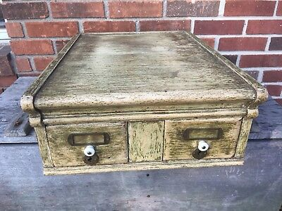 Stacking File Top Section Oak Painted Antique 2 Drawer