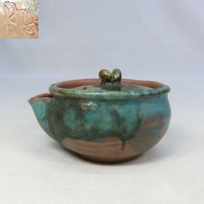 D849: Japanese pottery teapot for SENCHA with good green glaze w/sign