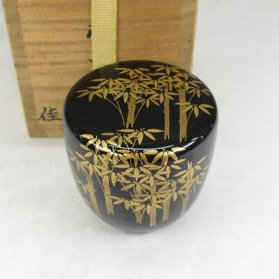 D981: Japanese lacquerware powdered tea container with fantastic MAKIE of bamboo