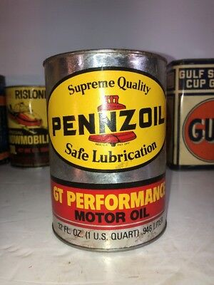 Vintage 1 Quart Pennzoil Gt Performance Motor Oil Can Full!  Great Graphics Nos