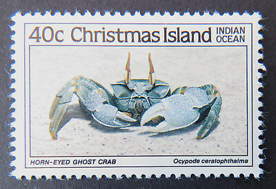 1985 Christmas Island Stamps - Crabs I - Single 40c - Horn-Eyed Ghost Crab MNH