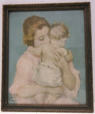 Vintage Color Print in Gorgeous Frame Mother and Baby