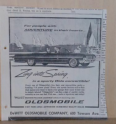 1962 newspaper ad for Oldsmobile - Convertible, Zing Into Spring, For Adventure