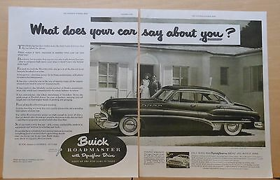 1950 two page magazine ad for Buick - Roadmaster, What does your car say