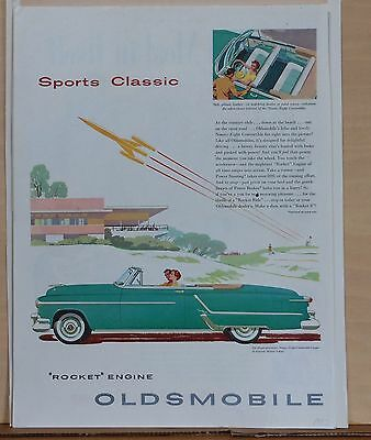 """1953 magazine ad for Oldsmobile - Sports Classic, green """"98"""" convertible coupe"""