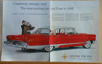 1955 two page magazine ad for Lincoln - Red Premiere 4-door Sedan, Daringly new