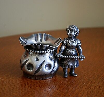 Antique Silverplate Toothpick Figural Little Girl Kate Greenway?