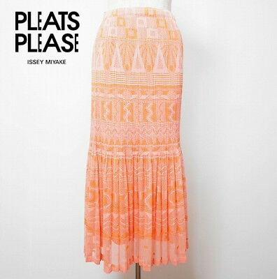 ca79f961c ISSEY MIYAKE PLEATS PLEASE Orange Pink Long Mermaid Pleated Skirt Size 3  Japan