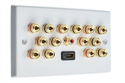 7.1 Audio / AV Speaker Wall Plate Gold 14 Binding Posts+ 1 RCA +HDMI Non-solder