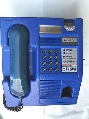 Vintage Blue Telstra Pay Phone In Excellent Condition With Original Key