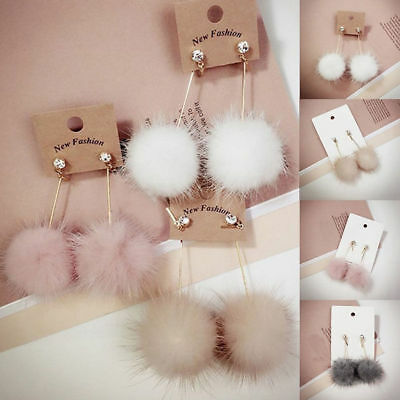 Cute Women Fashion Unique Soft Fur Ball PomPom Long Earrings Ear Dangle Jewelry