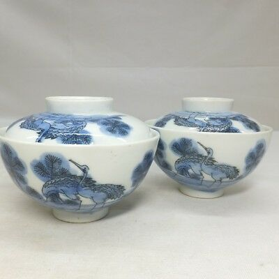 E003: Japanese old IMARI porcelain pair of covered bowl with crane and pine