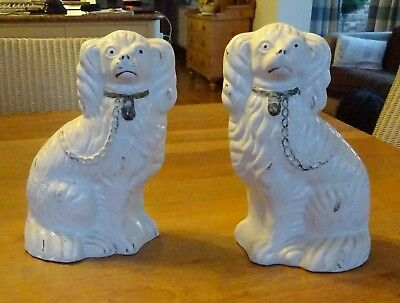"Victorian Staffordshire Victorian Mantle Dogs - 10.5"" high"