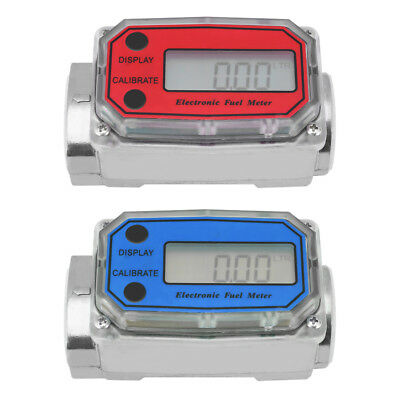 "15-120L/Min 1""NPT LED Digital Turbine Flowmeter Diesel Fuel Flow Meter Blue/Red"