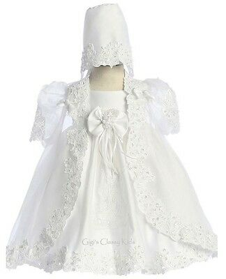 New White Baby Girls Baptism Dress Christening Gown w/ Virgin Mary Bonnet 3922F