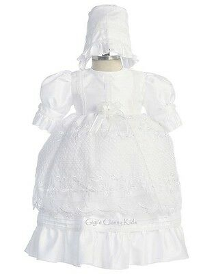 New Baby Girls White Baptism Dress Christening Dedication Gown w/ Bonnet 3932F