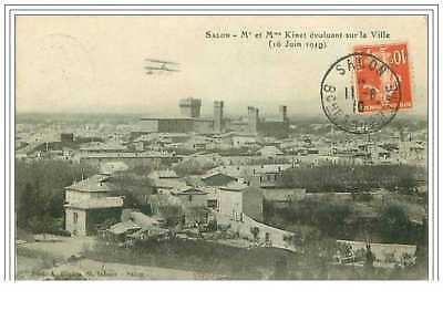 13.SALON.Mr ET Mme KINET EVOLUANT SUR LA VILLE.16 JUIN 1910.AVIATION.RARE