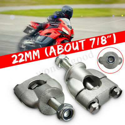 2X Motorcycle Motorbike 7/8'' 22mm HANDLE BAR MOUNT MOUNTING RISERS CLAMP GRIPS