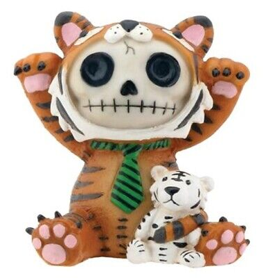 FurryBones Tigrrr Figurine Tiger Cute Cool Gift Skull Skeleton Fun Ornament Tie