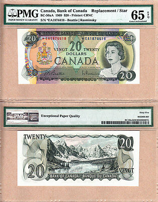 1969 $20 BC-50aA *EA Replacement Bank of Canada Note; PMG GEM UNC 65 EPQ